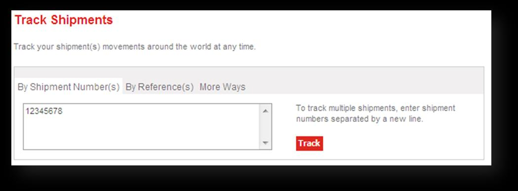2. When the shipment(s) number(s) is (are) entered, click Track, to display your shipment details. 2.