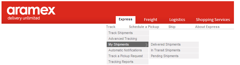 Under Tracking you can: 1. Track your shipments by clicking on Track Shipments/Advanced Tracking, or check your shipments status by clicking on My Shipments. 2.