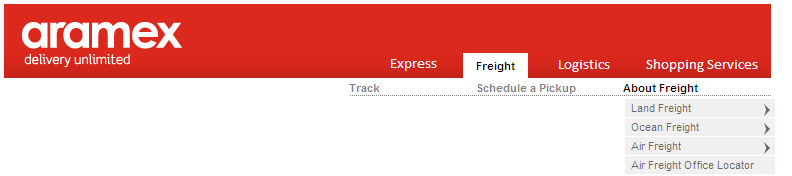 Freight Online Services > Freight on aramex.com 1. Land Freight 2. Ocean Freight 3. Air Freight (Cargo) > On aramex.