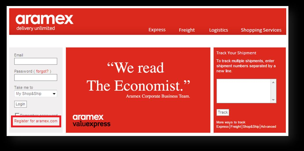 Registering on aramex.com Registration is quick and free on aramex.com. Registered members will be able to access additional online services. > Why register on aramex.com? 1.