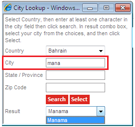 The city look-up function will appear in a pop-up window. Simply type your city name or part of it then click Search. Use the dropdown menu to choose the city name and then click select. 3.
