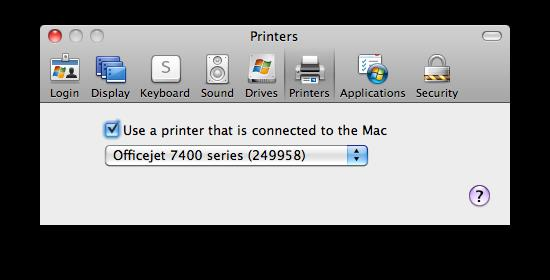 Printer Settings This allows you to use any printer that is connected to your mac from the windows computer you are connected to. It automatically sets RDC to connect to your printer as the default.