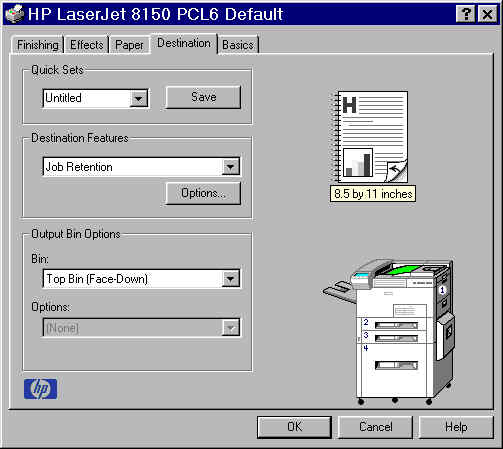 PCL 6 and PCL 5e driver features Destination tab features The Destination tab provides options for job retention and output bins.