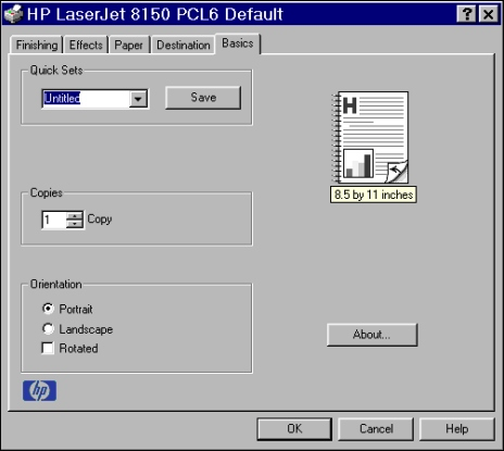 PCL 6 and PCL 5e driver features Basics tab features The Basics tab provides options for setting the number of copies to be printed and for the orientation of the print job.