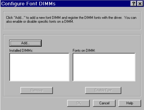 PCL 6 and PCL 5e driver features Fonts The Fonts group box contains a Font DIMM check box and a corresponding Configure button.