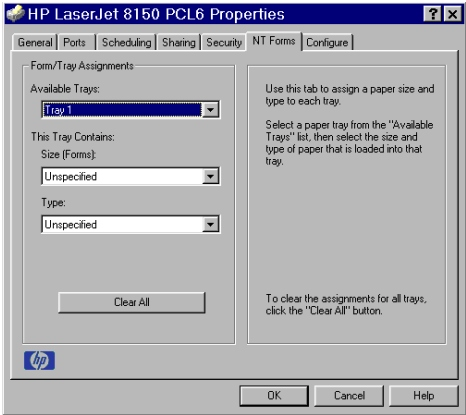 PCL 6 and PCL 5e driver features NT Forms tab features The NT Forms tab appears only in the Microsoft Windows NT 4.0 and Windows 2000 operating environments.