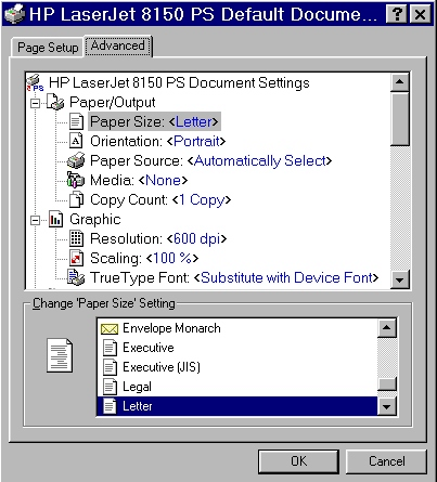 Windows PostScript driver features Advanced tab features The Advanced tab contains controls for the following types of options: Paper/Output (advanced control over the