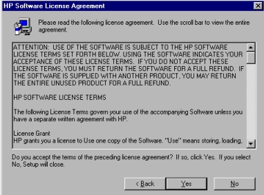 Windows installation Figure 5: HP software license agreement dialog box Title of Dialog box HP Software License Agreement Text in Dialog box Please read the following license agreement.