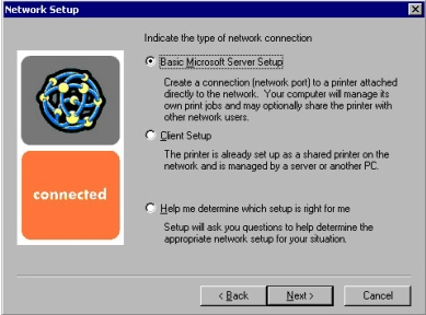 Windows installation Figure 9: Network setup dialog box (for network connections) Title of Dialog box Text in Dialog box User Options and Descriptions Network Setup [If Connected to the network was