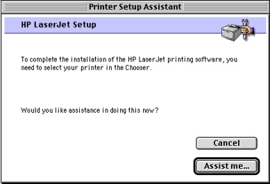 Macintosh installation Printer setup assistant dialog box sequence This section provides information about the installation dialog box sequence for the Printer Setup Assistant.