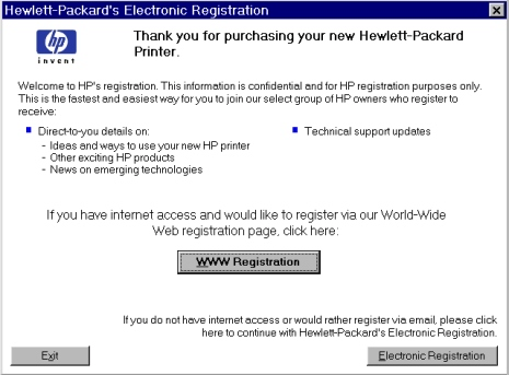 Printer features Product registration (HP WebReg) The HP LaserJet 8150 Printing System Installer CD-ROM browser provides two options for registering the HP LaserJet 8150 product: Registration through