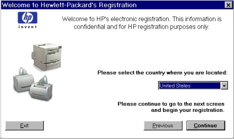 Printer features Figure 32: Welcome to Hewlett-Packard s registration dialog box Title of Dialog box Text in Dialog box User Options and Descriptions Welcome to Hewlett- Packard s Registration