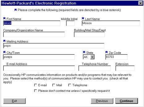 Printer features Figure 33: Hewlett-Packard s electronic registration dialog box (1 of 3) Title of Dialog box Hewlett-Packard s Electronic Registration [This is the first of three screens.
