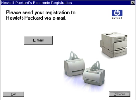 Printer features Figure 35: Hewlett-Packard s electronic registration dialog box (3 of 3) Title of Dialog box Text in Dialog box User Options and Descriptions Hewlett-Packard s Electronic