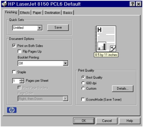 PCL 6 and PCL 5e driver features Finishing tab features The Finishing tab is the default tab shown when you select Properties for the driver or a software application.