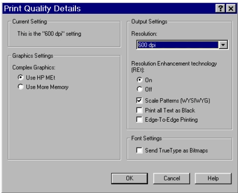 PCL 6 and PCL 5e driver features The following screens show the default settings for Best Quality and 600 dpi.