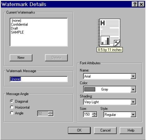 PCL 6 and PCL 5e driver features Figure 54: Watermark Details dialog box The dialog box shows a preview image and provides options creating new watermark and for controlling the message angle and