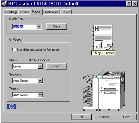 PCL 6 and PCL 5e driver features Paper tab features The Paper tab lets you specify the size, type, and source of the media. You can also use the Paper tab to define a custom paper size.