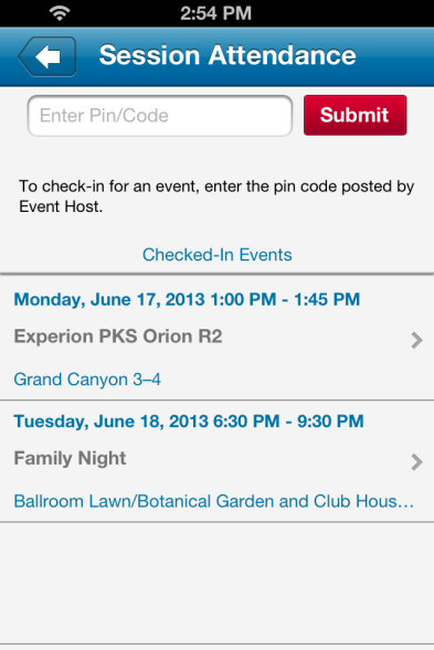 Session Attendance Click on Session Attendance to check-in at any session you attend.