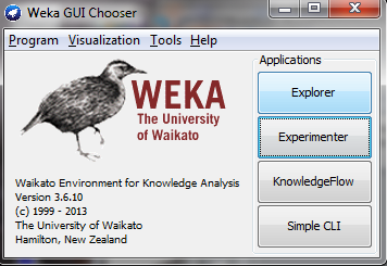 9 WEKA Walk Through: Main GUI Three graphical user interfaces The Explorer (exploratory data analysis) pre-process data build classifiers cluster data find associations attribute selection data