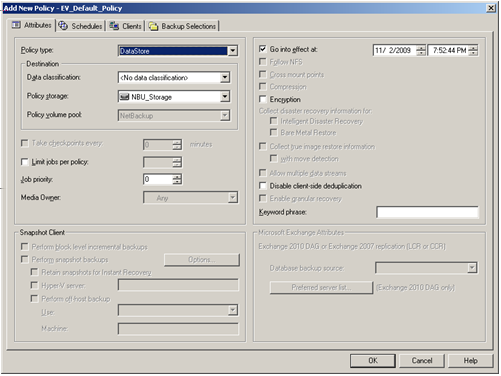 NetBackup Enterprise Vault Migrator About configuring a backup policy for migration 120 4 In the Add a New Policy dialog box, in the Policy name field, type a unique name for the new policy.