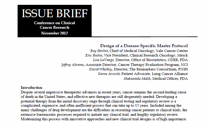 Design of a Disease-Specific Master Protocol 2012 Conference on Clinical