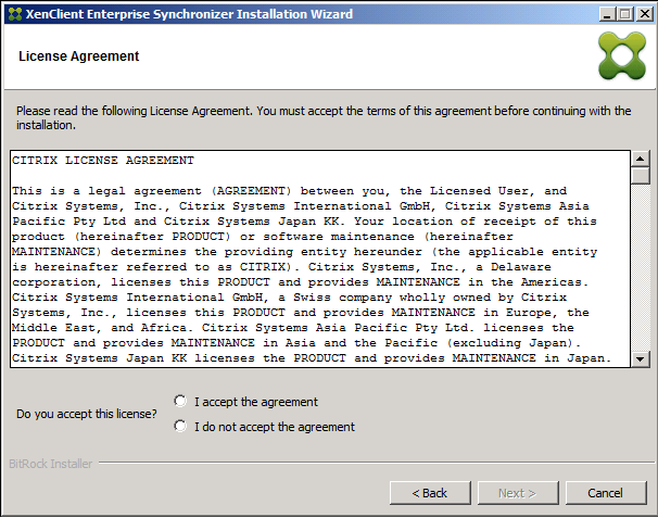 The next screen shows the End User License Agreement for Synchronizer. 4. Please read thoroughly and only choose I Accept the agreement if you understand and agree with the license.