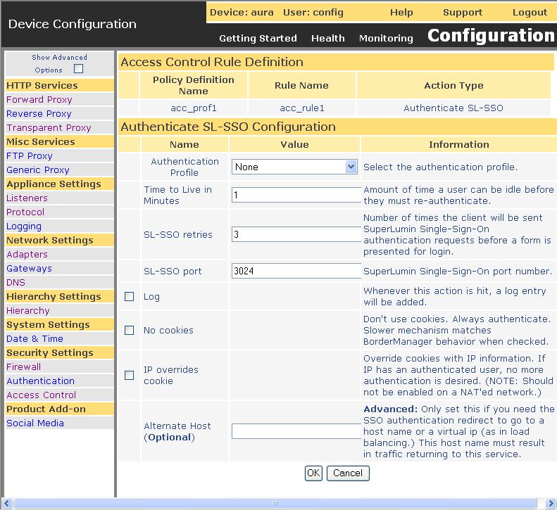 Figure 27-60 Authenticate SL-SSO Action Configuration Page The following options display on the Authenticate SL-SSO Action Configuration page: Authenticate SL-SSO Configuration Authentication