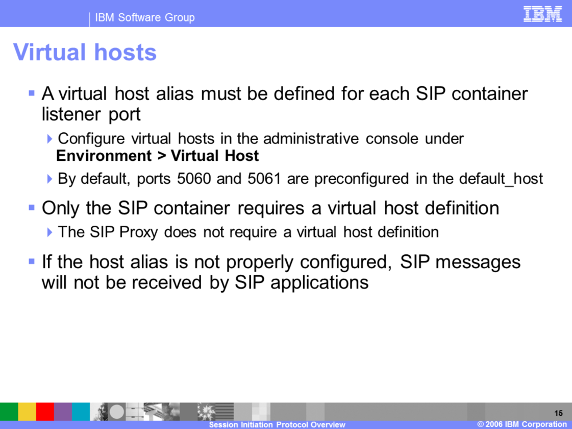 A virtual host alias must be defined for each port on which the SIP container is listening for messages.