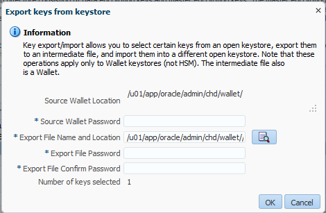 Exporting Encryption Keys Keys can be exported and imported from/to wallet.