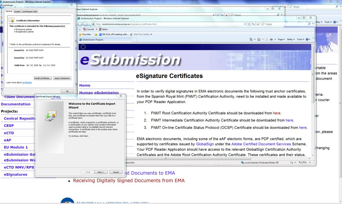 Figure 3 C. When you have installed all three FNMT certificates click on the file to open the EMA PDF Form in your PDF application. D.