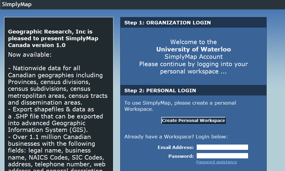 SimplyMap Canada Tutorial SimplyMap Canada is a web mapping application developed by Geographic Research Inc.