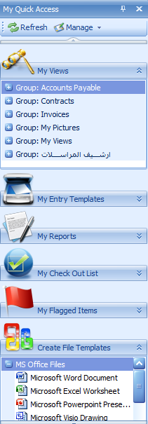 Quick Access Bar for Quick Access of: Saved Search Views and Templates Saved Entry Templates Saved Reports and Report Templates Checked-Out Documents for a user Flagged Documents and Folders File