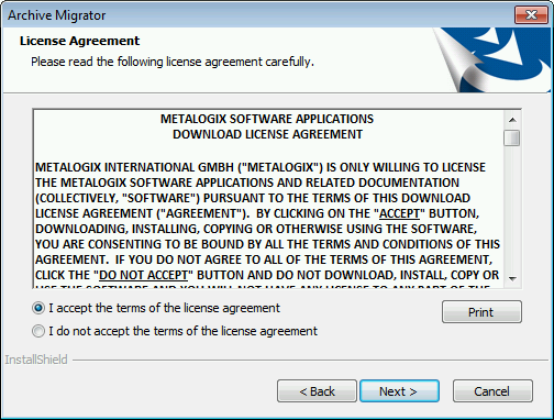 There is also a Print button on this screen if users would like to have a hard copy of the license agreement.