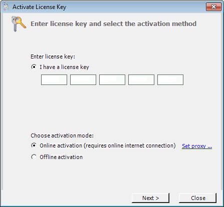 2. Next select the activation method. Most systems can use the Online activation method, as long as the system has internet access.