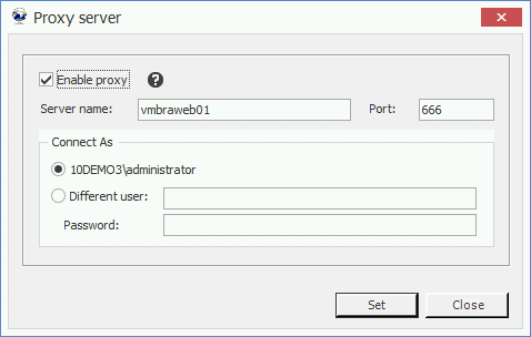 2. Enter the Server name and Port for the proxy. This text box allows users to specify the specific server name or IP for the proxy, and the specific port the proxy can be set in. 3.
