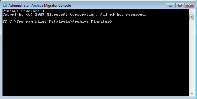 console. Load Configuration settings - This section will find and load all of the Archive Migrator client application configuration settings into the PowerShell script.