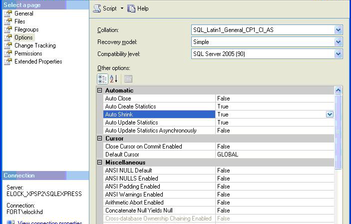Configure MS SQL server for LockView 4 cont. 7. Click Options 8.