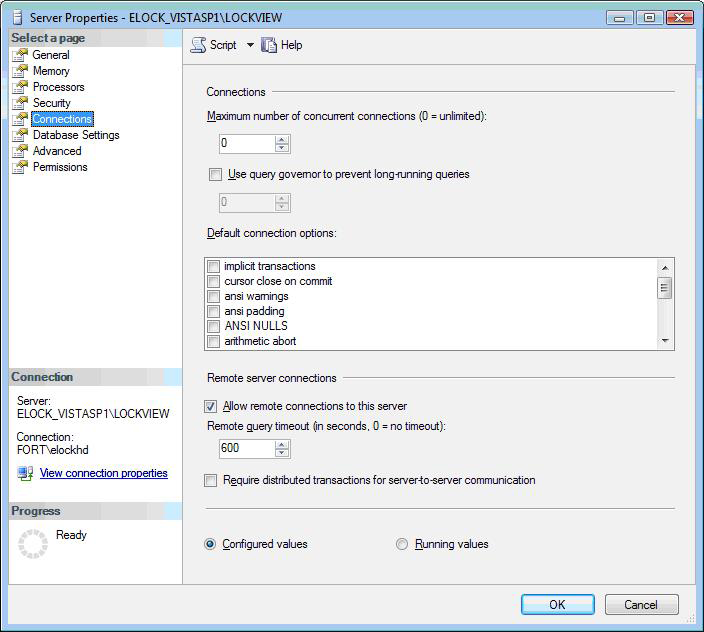 Configure MS SQL server for LockView 4 cont. 10.