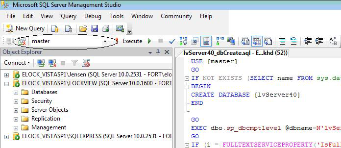 Configure MS SQL server for LockView 4 cont. 3. Navigate to the script LVServer41_dbCreate.