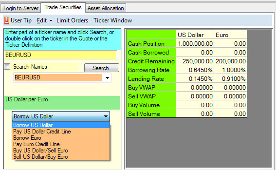 This has a lot of information: First, it tells you the quotation convention in the middle left: BEURUSD is US Dollar per Euro Second, you can see the trading options in the dropdown, we will explain