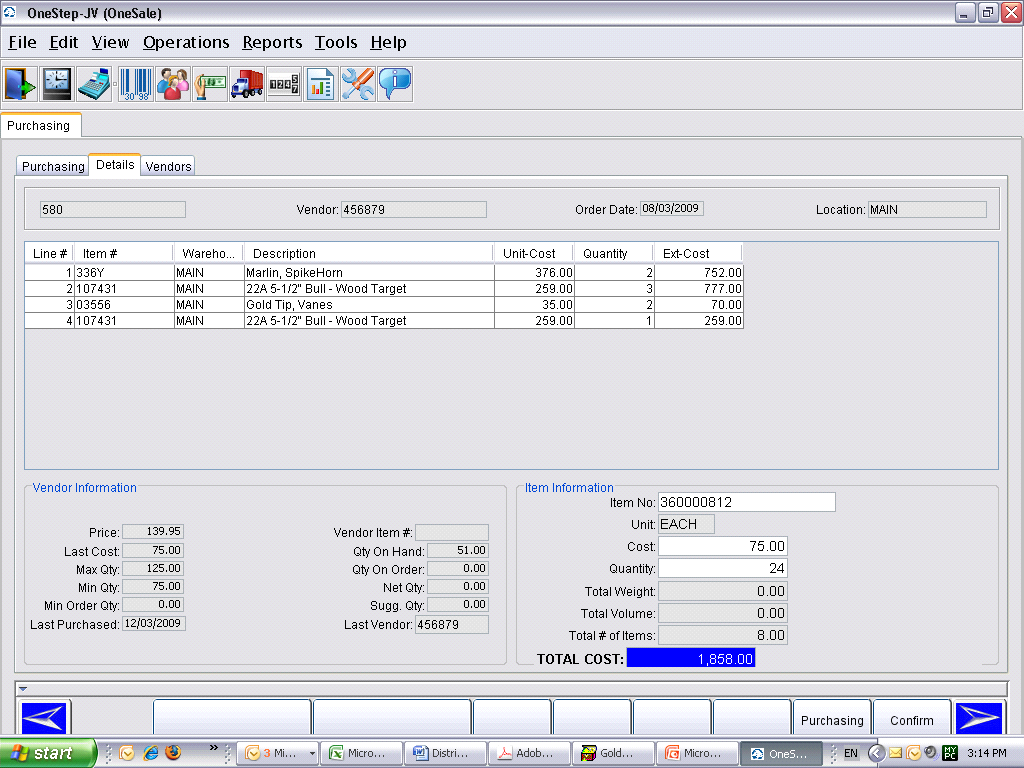 Purchase Order Detail Screen Vendor Tab displays