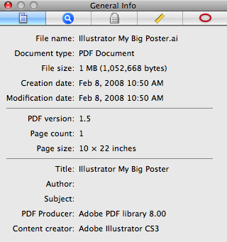 Printing Posters from Preview (PDFs) 1. Open the PDF document using Preview, then go to Tools>Inspector. In the General Info tab on the inspector, make a note of the Page Size of the document. 2.