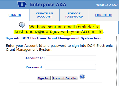 3. Enter your email address. Click on retrieve A&A Id. (You may try this with as many email addresses as you like.