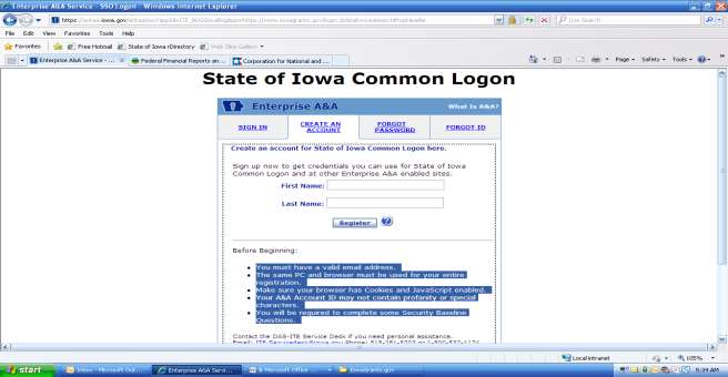 ACCOUNT ACTIVATION IN THE STATE S A & A SYSTEM 11. Click on Create an Account. Enter your first and last name.