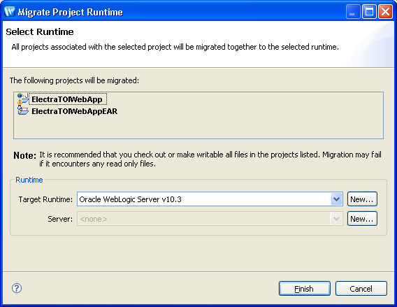 - In the project view right click on the ElectraTOIWebApp and select Migrate Project Runtime: - Click