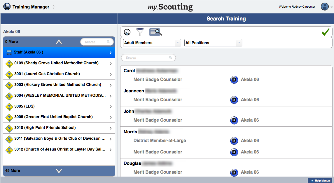 YPT Aging To filter members in the selected organization, click the Filter icon.