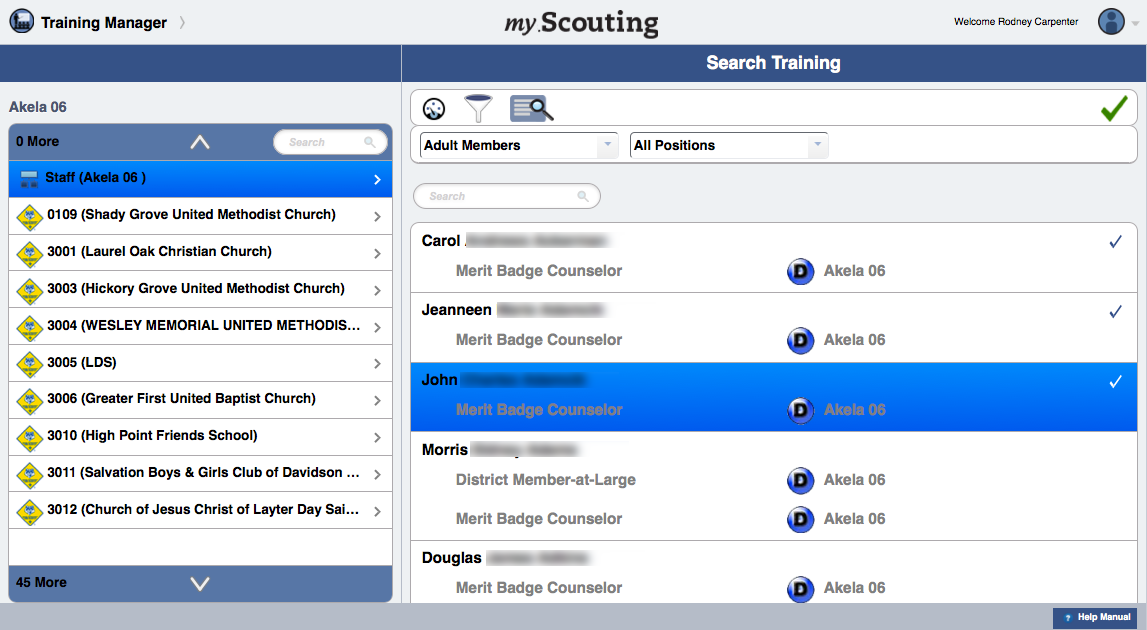 Training Dashboard YPT Aging To view details of a member s training history record, select member(s) from the list first, then