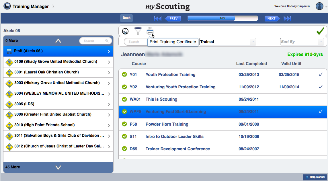Back Training Dashboard YPT Aging You can also print certificate(s) of a completed course. To do so, select the course(s), with ability to Select All, and then click on the Print icon.