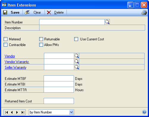 PART 2 SETUP IN PREVENTIVE MAINTENANCE To update item extensions: 1. Open the Item Extensions window. Cards > Service Call Management > Extensions > Item 2. Select an item number. 3.